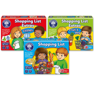 Shopping list + 2x Extras - Clothes and Fruit&Veg (Orchard Toys)